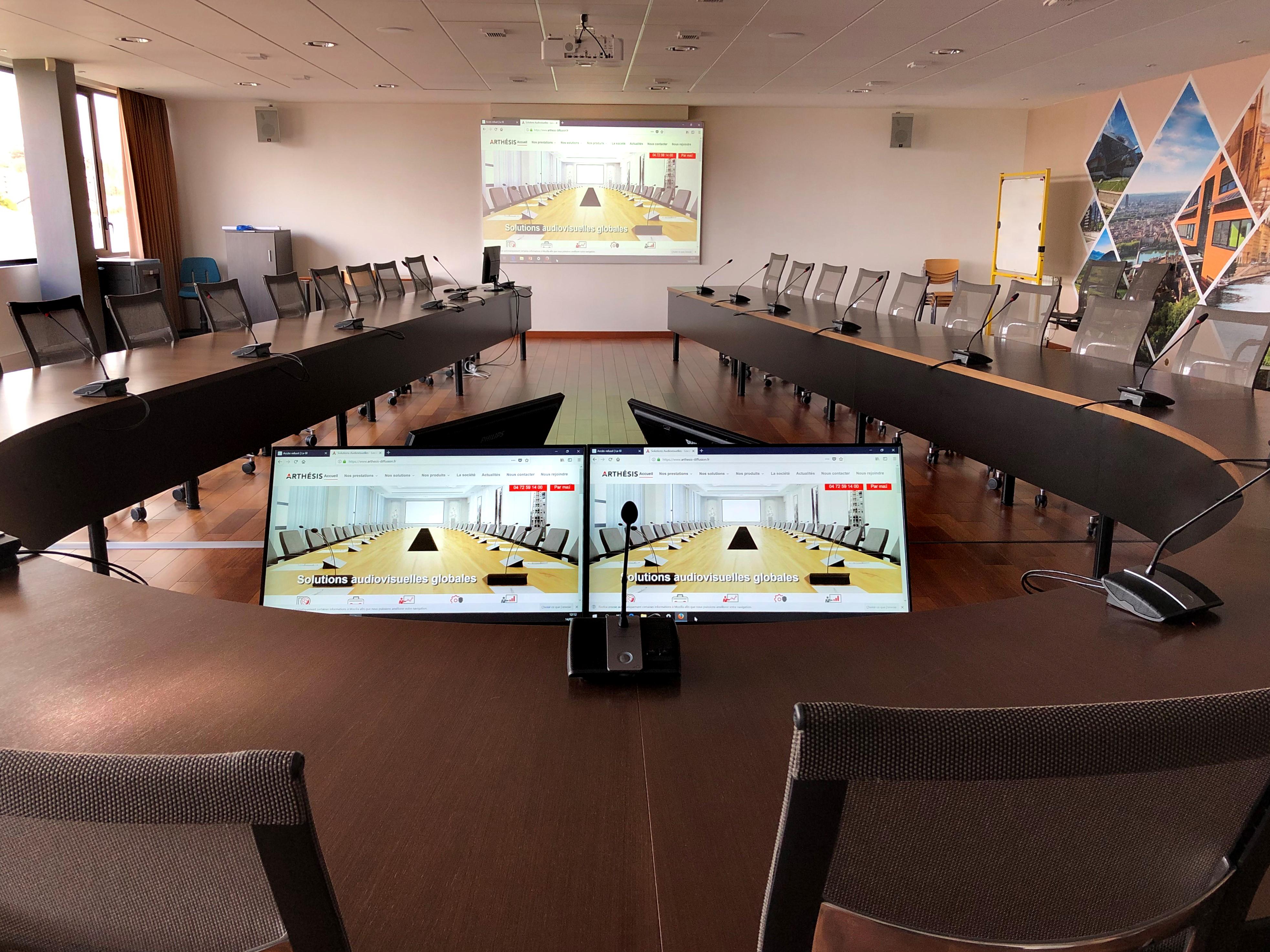 salle de conseil vidéoprojection système conférence